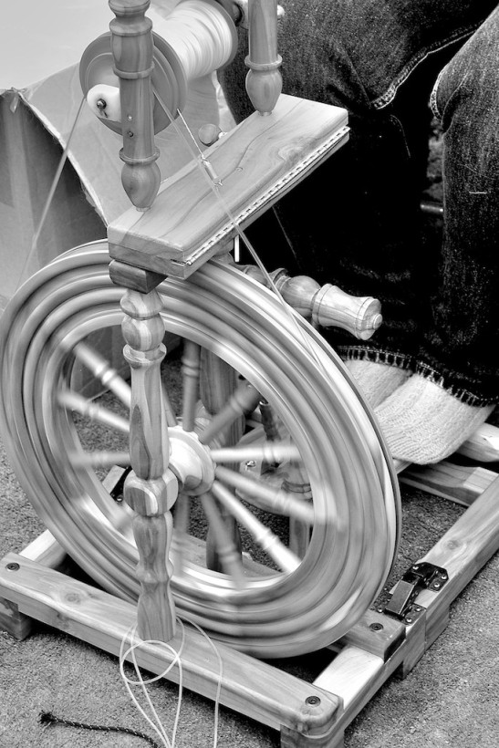 Spinning wheel in action.