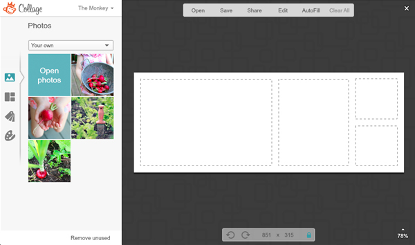 screen shot of Collage showing Open photos button