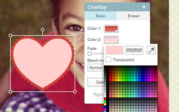 screen shot of overlay palette