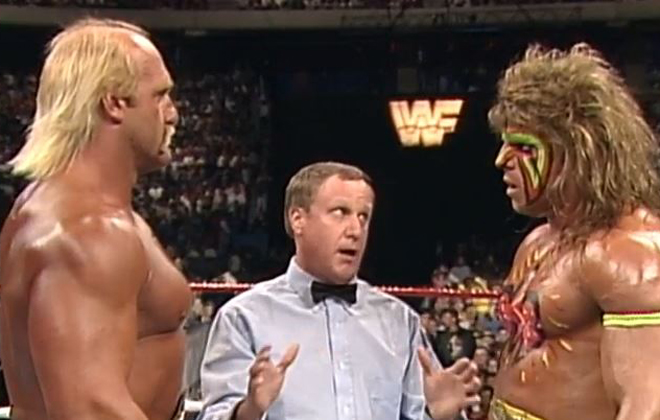 Hulk Hogan and The Ultimate Warrior at WrestleMania VI.