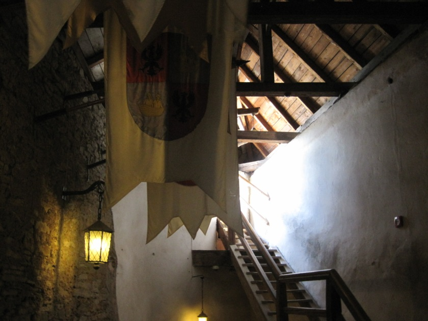 Climbing the stairs to the battlements