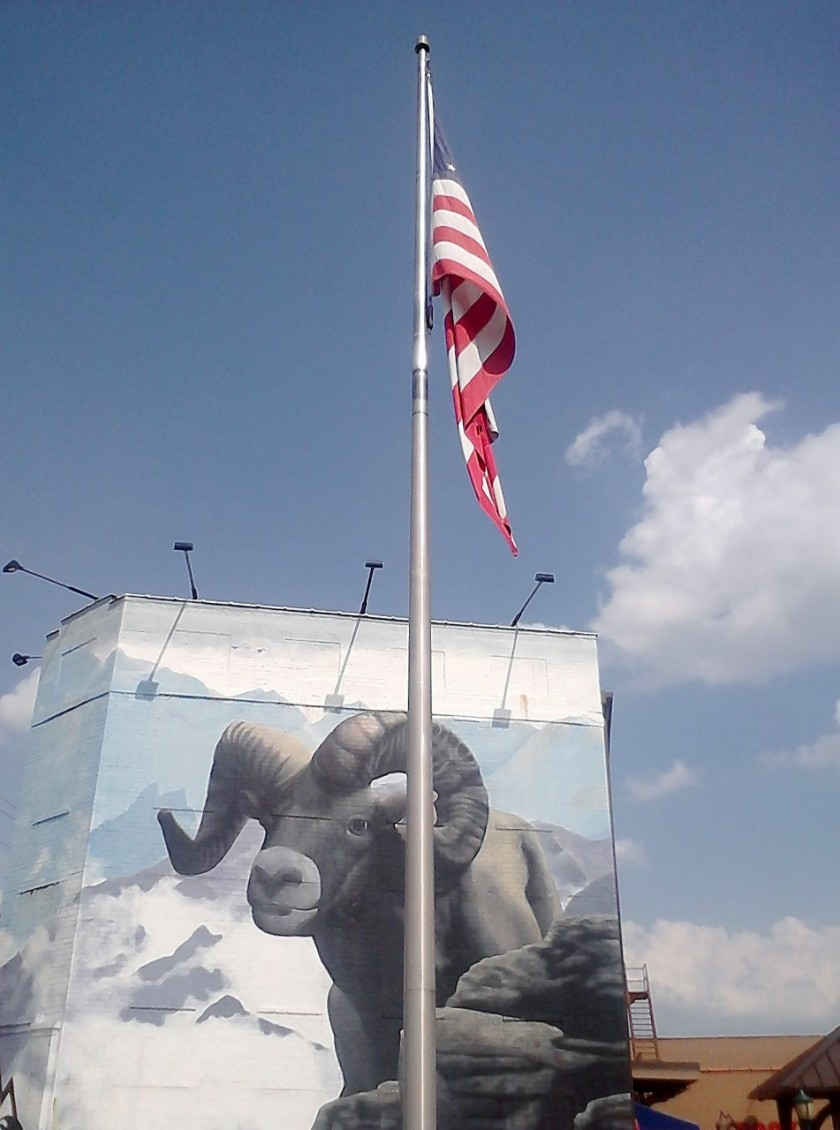 The flagpole by the Rocky Outdoor Gear Store.