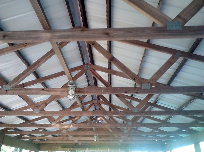 The rafters of the picnic shelter at the Good Works main property.