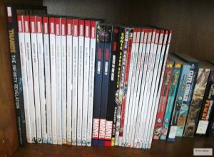 My comic trade and manga collection. Mostly Marvel (Marvel NOW!-era) with some Archieverse Sonic for spice. ^_^