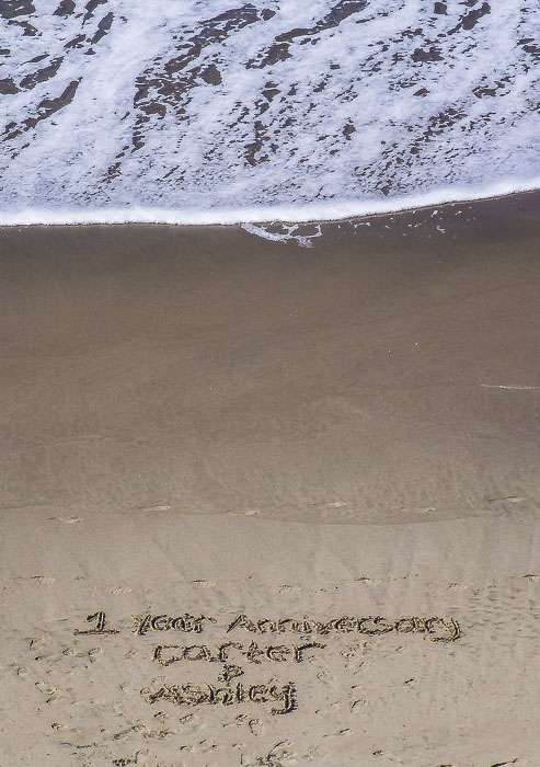 An annivesary message found on the beach at Lincoln City, Oregon.