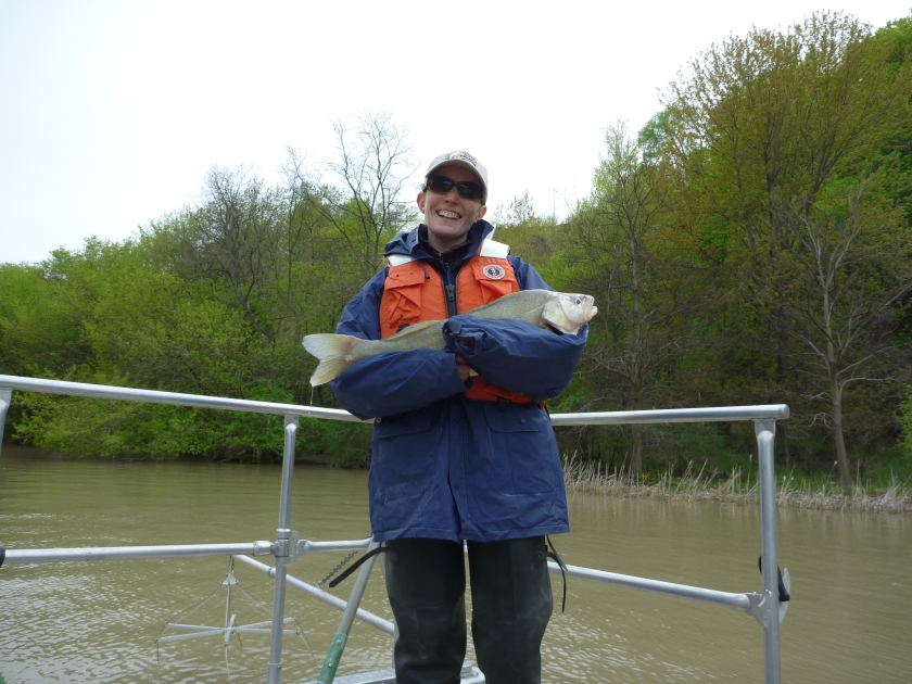 Amy out collecting information as part of the Great Lakes Restoration Initiative study for the Niagara River Area of Concern. Photo courtesy of Amy.