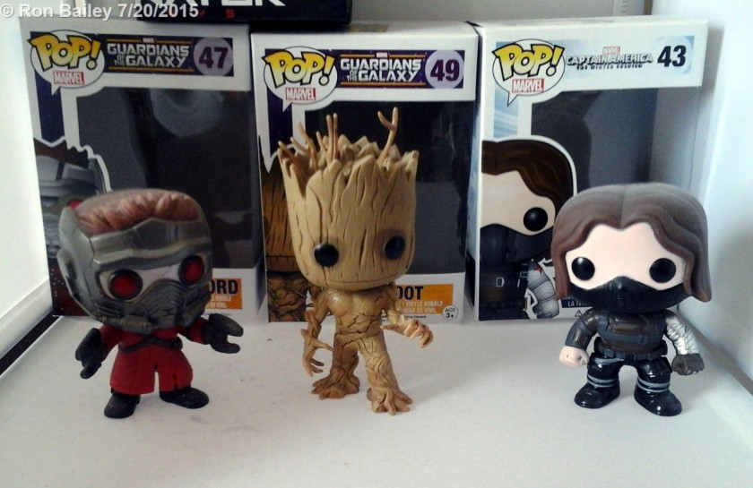 Funko POP! Star-Lord, Groot, and Winter Soldier bobbleheads.