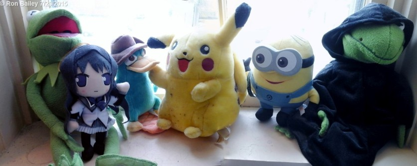 My plushie collection. From left to right: Kermit, Homura, Perry the Platypus (Agent P), Pikachu, a Minion I haven't named yet ^_^, and Constantine.