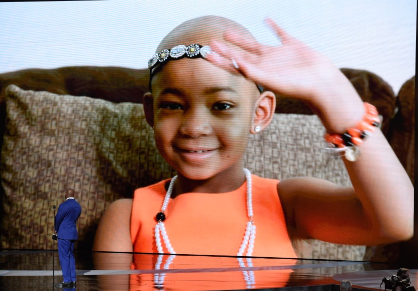 Leah Still on screen as her dad accepts the Jimmy V award for perseverance at the ESPY Awards.